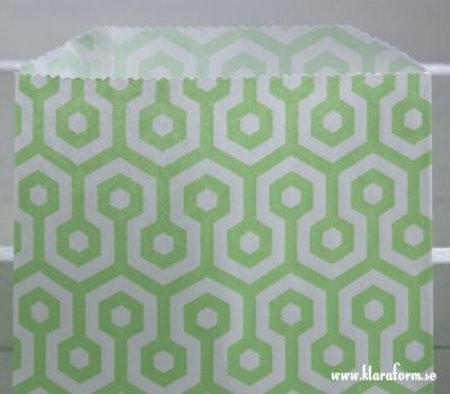 Presentpåse - grön/vit honeycomb