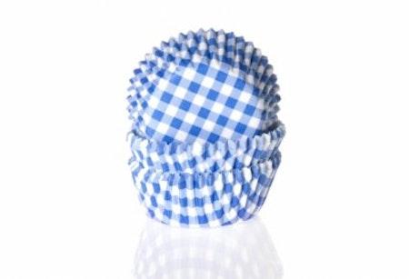Mini muffinsform - klarblå/vitrutig