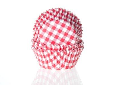 Muffinsform - ljusröd/vitrutig