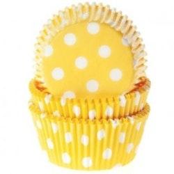 Muffinsform gul/vitprickig