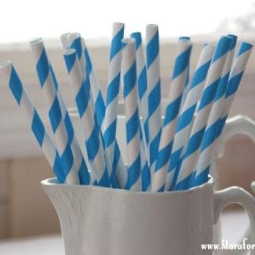 Papperssugrör - blå rand