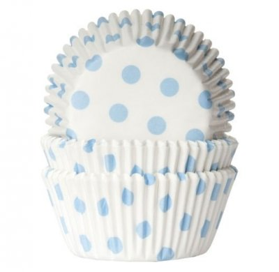 Muffinsform vit med ljusblå prickar