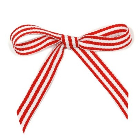 Ripsband - röd/vit rand