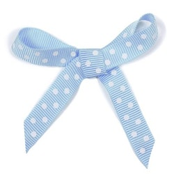Ripsband - blå/vit prickig