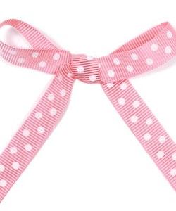 Ripsband - rosa/vit prickig