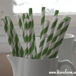 Papperssugrör - gräsgrön rand