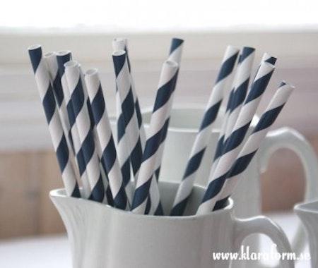 Papperssugrör - navy blue rand