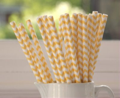 Papperssugrör - gul chevron