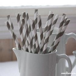 Papperssugrör - mörkgrå rand