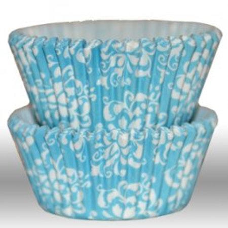 Muffinsform - Damask aqua blue