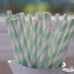 Papperssugrör - mintgrön rand