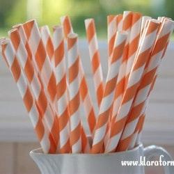 Papperssugrör - orange rand