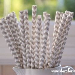 Papperssugrör - grå chevron