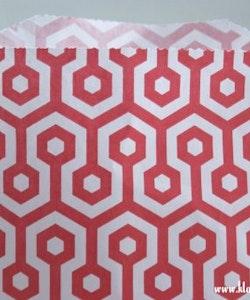 Presentpåse - röd/vit honeycomb