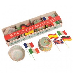 Muffinsformar, Cake toppers set - Vintage World map