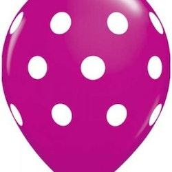 Ballonger 10 st - Cerise med prickar