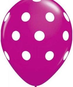 Ballong - cerise med prickar