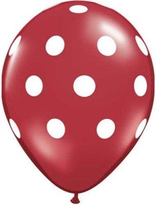 Ballong - röd med prickar