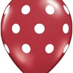 Ballonger 10 st - Röd med prickar