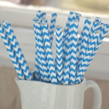 Papperssugrör - blå chevron