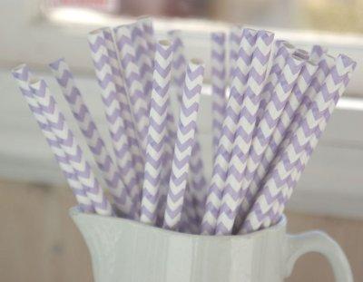 Papperssugrör - lavendel chevron