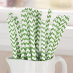 Papperssugrör - gräsgrön chevron