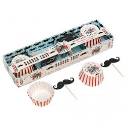 Muffinsformar, Cake toppers set - Barber Shop Moustache