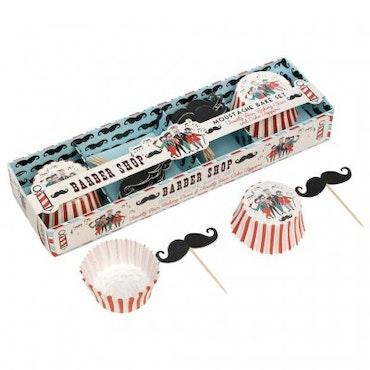 Muffinsformar, Cake toppers set - Barber Shop Moustache