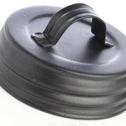 Mason Jar Lid regular - svart matt med handtag
