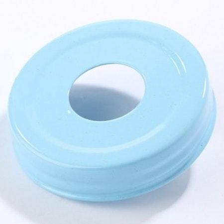 Mason Jar Lid - ljusblå, stort hål