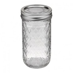 Ball Mason Jar- Quilted Chrystal Jelly Jars 12 oz