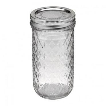 Ball Mason Jar- Quilted Chrystal Jelly Jars 12 oz