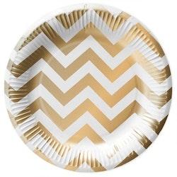 White gold paper plates