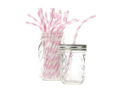 Papperssugrör - böjbara, rosa