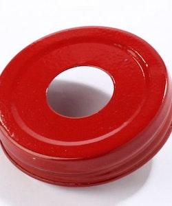 Mason Jar Lid - röd, stort hål