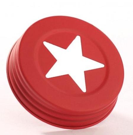 Mason Jar Lid wide- röd stjärna