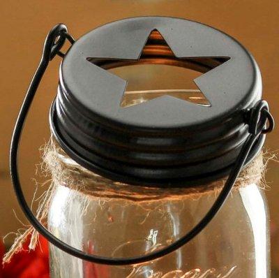 Mason Jar Lid regular - svart stjärna