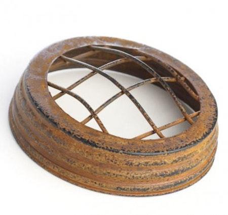 Mason Jar lid wide - frog jar lid, rostig