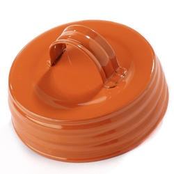 Mason Jar Lid regular - orange, med handtag