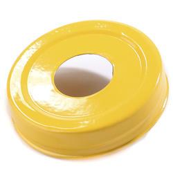 Mason Jar Lid - gul, stort hål