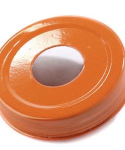 Mason Jar Lid - orange, stort hål
