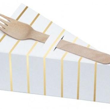 Pie Box - Guld och Vit - 10-pack