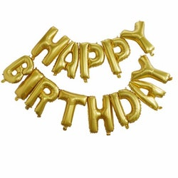 Ballong - Happy Birthday, guld