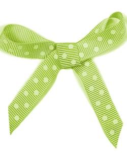 Ripsband - grön/vit prickig