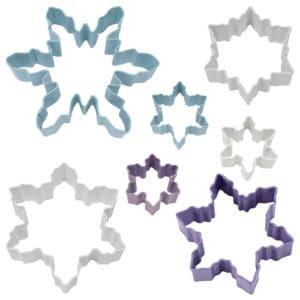 Kakmått - set med 7 färgade snöflingor