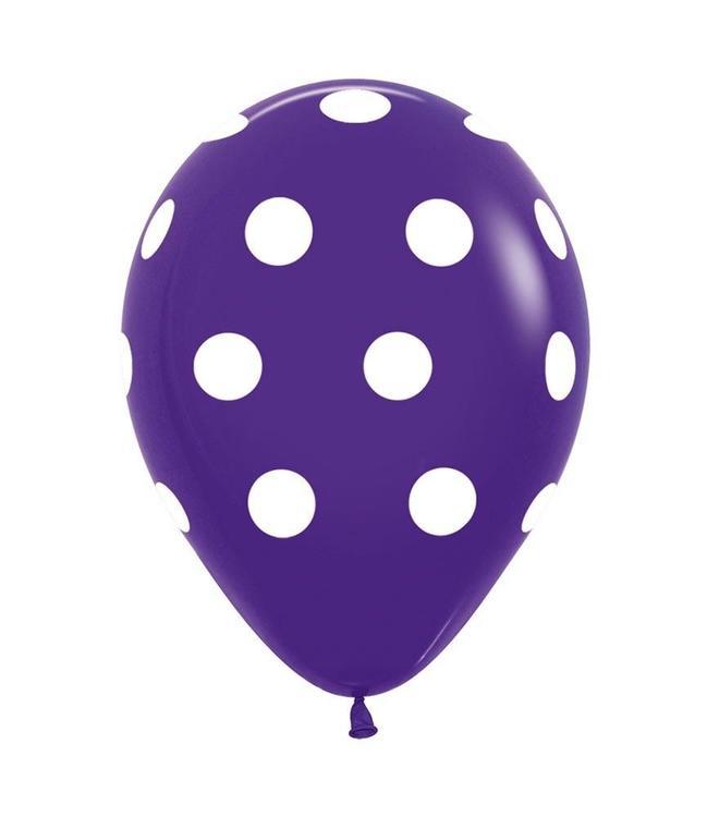 Ballonger 10 st - Lila med prickar