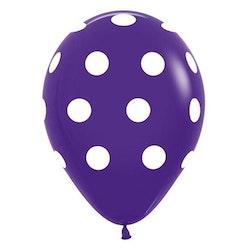 Ballong - lila med prickar 10 st