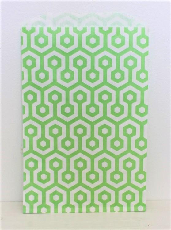 Presentpåse - 10 st grön/vit honeycomb