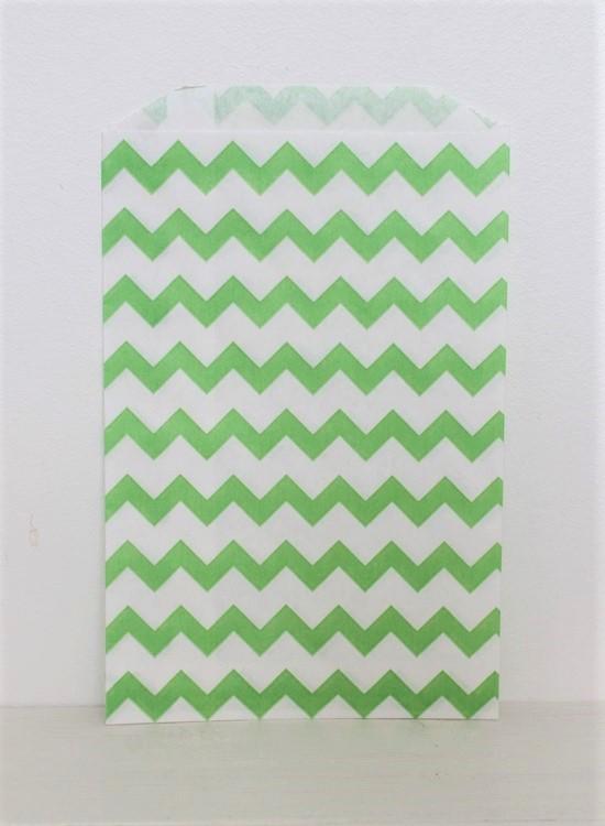 Kalaspåsar 10 st - grön/vit chevron