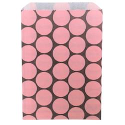 Kalaspåsar 10 st - brun/rosa cirkel
